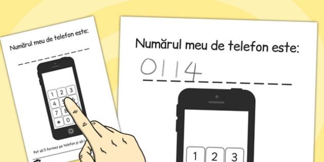 Phone Number Dialing Practice Sheet Romanian - romanian, phone