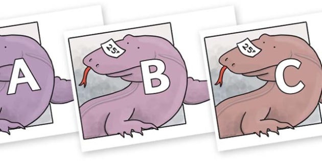 A-Z Alphabet on Komodo Dragon to Support Teaching on The Great Pet Sale - A-Z, A4, display, Alphabet frieze, Display letters, Letter posters, A-Z letters, Alphabet flashcards