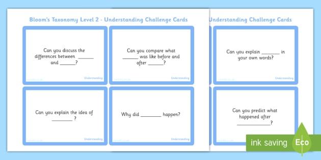 Bloom's Taxonomy Level 2 Understanding Challenge Cards - blooms