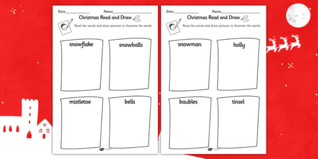 Christmas Read and Draw Worksheet - worksheets, drawing, reading