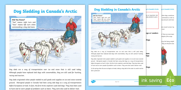 Dog Sledding in Canada's Arctic Fact File - Canadian First Nations, dog sleds, husky, winter, north, Canada, arctic, Nunavut.