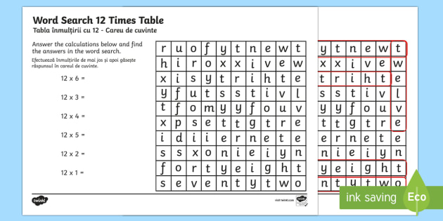 Multiplication 12 Times Tables Word Search Activiy Sheet