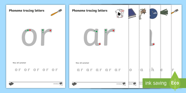 Phase 3 Phoneme Tracing Worksheets with Pictures - phonemes, phoneme, tracing, Letters and Sounds, DfES, display, Phase 1, Phase 2, Phase 3, Phase 5, Foundation, Literacy