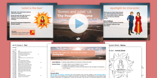 Romeo and Juliet Lesson Pack 8: The Power of a Name - Romeo and Juliet, balcony, metaphor, hyperbole