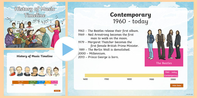 History Of Music Timeline PowerPoint