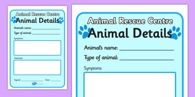 Animal Rescue Pet Details Form - animal rescue, pet details form, details form, form, details