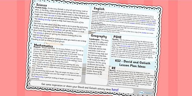 David and Goliath Lesson Plan Ideas KS2 - david, goliath, RE, KS2