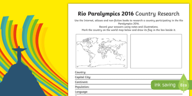Australian Rio Paralympics 2016 Country Research Activity Sheet, worksheet
