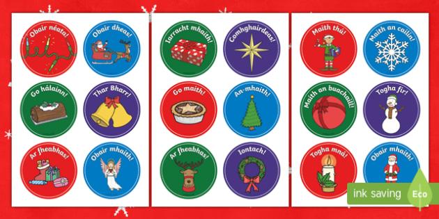 * NEW * Christmas Themed Reward Stickers Gaeilge