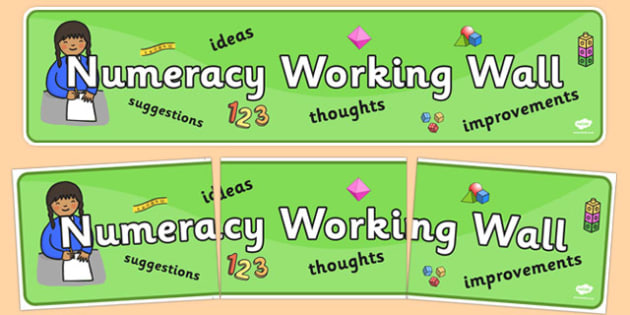 Numeracy Working Wall Display Banner - working wall, numeracy, wall, activity, display, banner, poster, sign