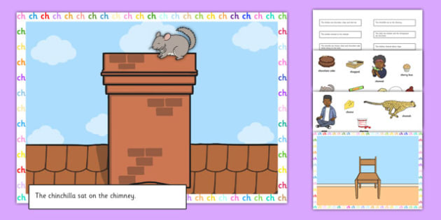Silly Ch Sentence Cut and Stick Pictures - silly ch, sentence, cut and stick, pictures