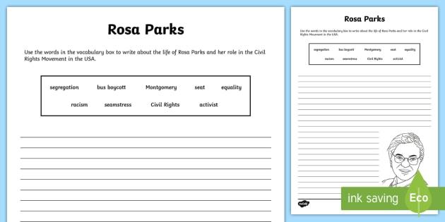 Rosa Parks Writing Worksheet Activity Sheet Civil Rights 1950
