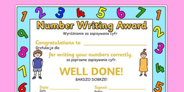 Number Writing Award Certificate Polish Translation - polish, number, writing, award, certificate