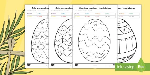 Coloriage Magique De Divisions Les Oeufs De Paques