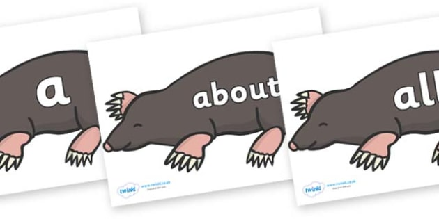 100 High Frequency Words on Moles - High frequency words, hfw, DfES Letters and Sounds, Letters and Sounds, display words