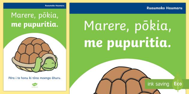 Rūaumoko. Marere, pōkia, me pupuritia A4 Display Poster - earthquake, safe walls, ruaumoko, turtles, disaster, natural disaster