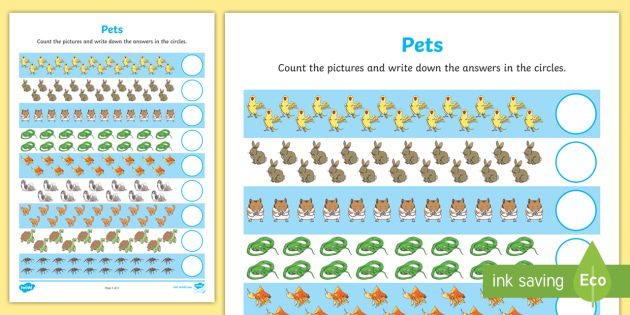 Pets Counting 11-20 Worksheet / Worksheet - pets, counting, count, 11-20