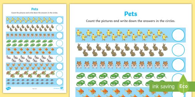 Pets Counting 11-20 Worksheet / Worksheet
