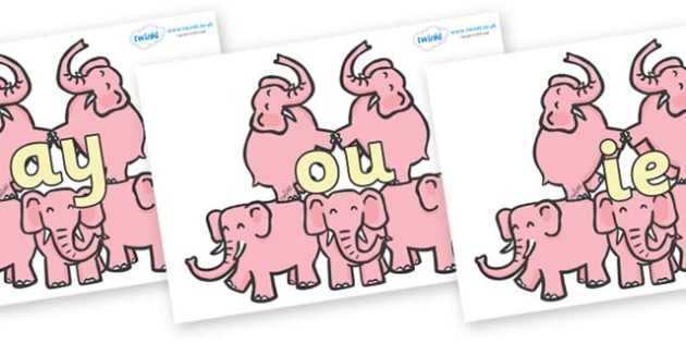 Phase 5 Phonemes on Five Elephants - Phonemes, phoneme, Phase 5, Phase five, Foundation, Literacy, Letters and Sounds, DfES, display