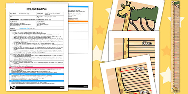Giraffe Themed Comparing and Measuring EYFS Adult Input Plan and Resource Pack to Support Teaching on Rumble in the Jungle