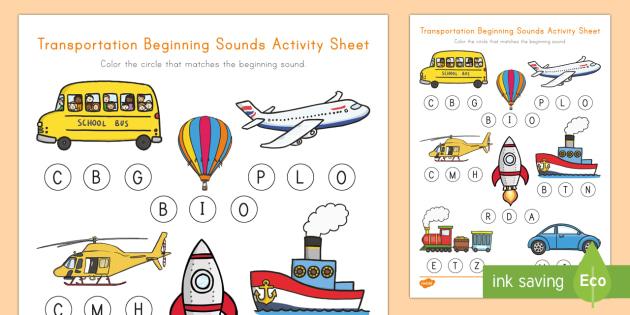 Transportation Beginning Sounds Worksheet / Activity Sheet