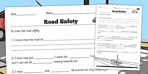 keeping myself safe road safety worksheet worksheets worksheets road. Black Bedroom Furniture Sets. Home Design Ideas