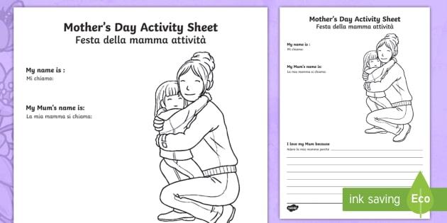 mother 39 s day worksheet worksheet english italian mother 39 s day worksheet. Black Bedroom Furniture Sets. Home Design Ideas