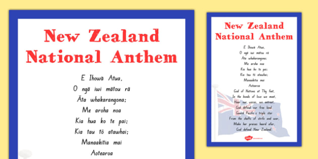 NZ National Anthem Lyrics Poster - God Defend New Zealand