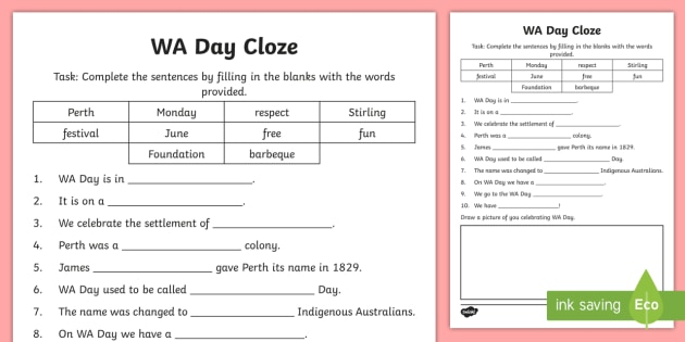 WA Day Cloze Worksheet