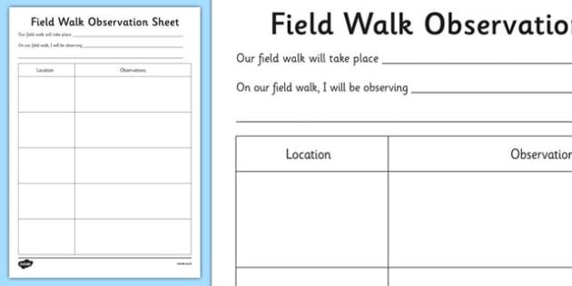 Field Walk Observation Sheet - Science, Habitats, Australian
