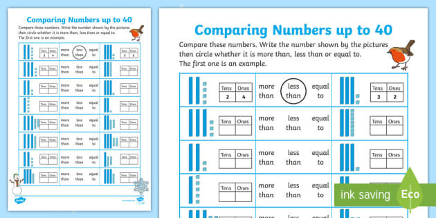 Ks1 Winter Themed Greater Than Or Less Than Up To 40 Worksheet - 31+ Greater Than Less Than Worksheets For Kindergarten Free Gif