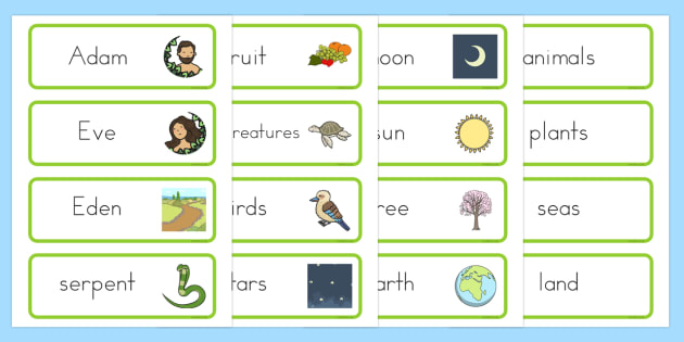 Adam and Eve Creation Story Word Cards - usa, america, Adam, Eve, Eden, serpent, fruit, earth, garden, creation, creation story, word card, flashcards, cards, paradise, sea creatures, birds, stars, moon, sun, tree, evil, knowledge, animals, sky, nigh