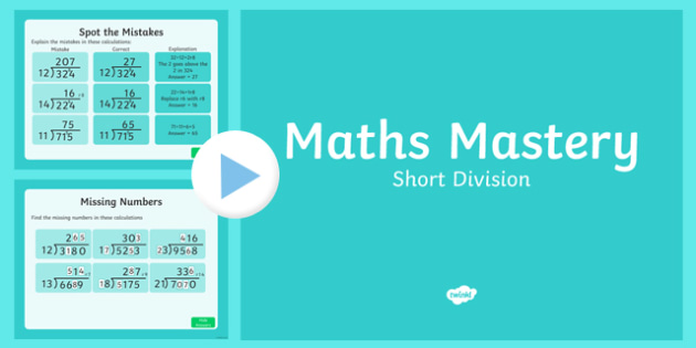 Year 6 Calculation Short Division Maths Mastery PowerPoint