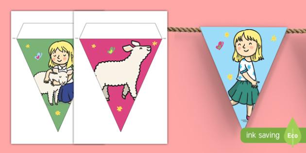 Mary Had a Little Lamb Bunting - mary had a little lamb, nursery rhyme, bunting, display