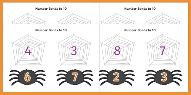 Number Bonds to 10 on Spiders and Webs - number bonds, number bonds to 10, 0-10, 0-10 number bonds, bonds, numbers, numeracy, maths, adding, plus, addition