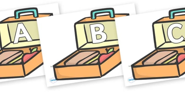 A-Z Alphabet on Lunch Boxes - A-Z, A4, display, Alphabet frieze, Display letters, Letter posters, A-Z letters, Alphabet flashcards