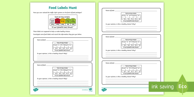 Food Labels Hunt Worksheet / Activity Sheet - Traffic Lights