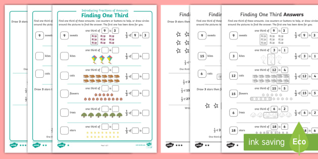 introducing fractions of amounts  finding one third differentiated  introducing fractions of amounts  finding one third differentiated  worksheet  worksheet  maths year