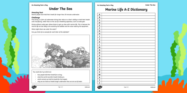 Under the Sea Activity Sheet - amazing fact a day, activity sheet, activity, activities, under the sea, worksheet
