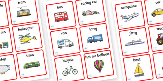 Transport Sorting Word and Picture Cards - Transport, matching cards, sorting cards, cards, word card, flashcard, word cards, car, van, lorry, bike, motorbike, plane, aeroplane, tractor, truck, bus