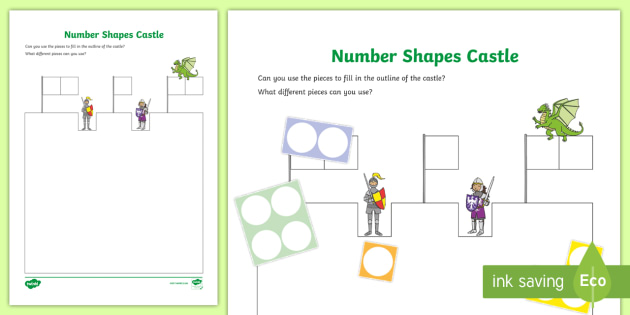 New Number Shapes Castle Outline Activity Early Years Maths
