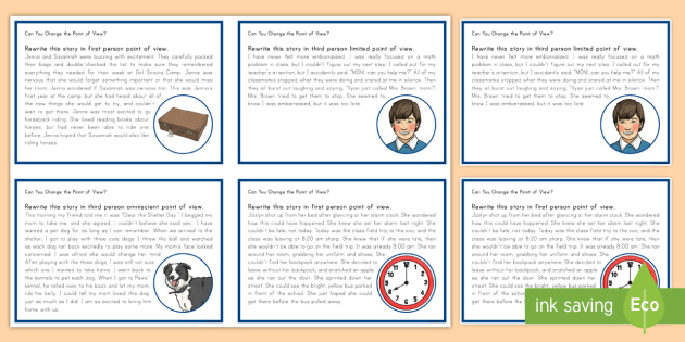 Point Of View Task Cards Perspective 1st Person 3rd Person
