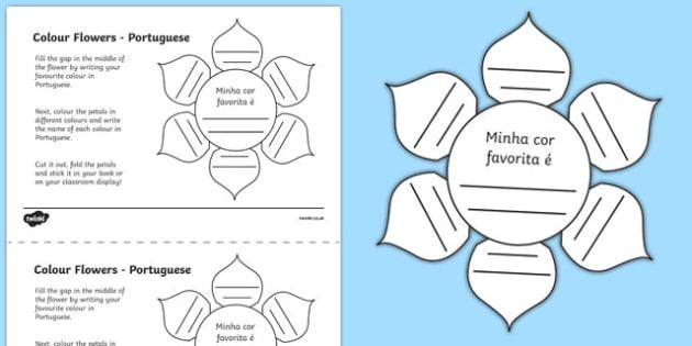 MFL Portuguese Colour Flowers Activity Sheet, worksheet