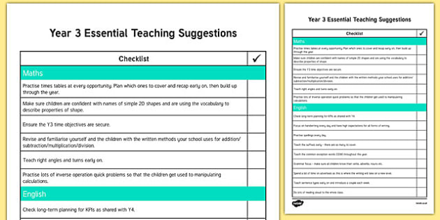 Year 3 Essential Teaching Suggestions Checklist
