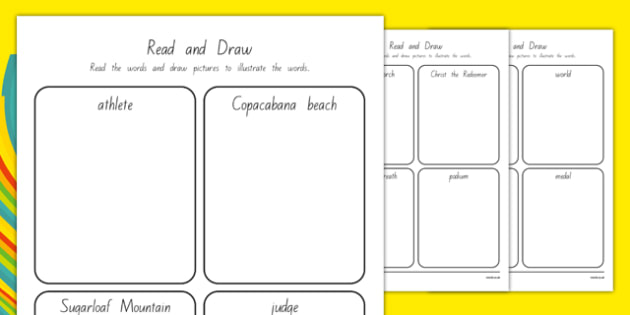 Rio Olympics 2016 Read and Draw Worksheet / Activity Sheets - nz, new zealand, rio olympics, 2016 olympics, rio 2016, read, draw, activity, sheets, worksheet