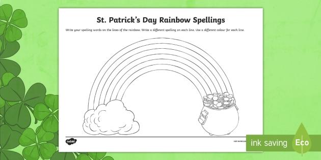St Patricks Day Rainbow Spellings Writing Worksheet