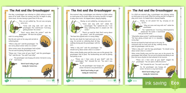 photo relating to The Ant and the Grasshopper Story Printable referred to as The Ant and The Grhopper Principal Components - Tale
