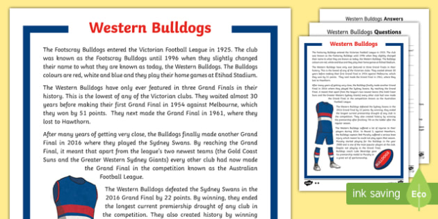 Western Bulldogs Differentiated Comprehension Challenge Sheet-Australia