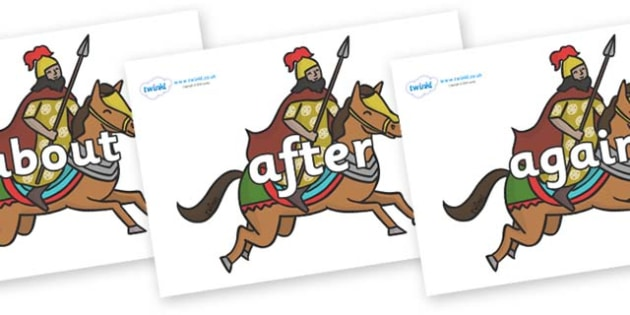 KS1 Keywords on Egyptian Warriors - KS1, CLL, Communication language and literacy, Display, Key words, high frequency words, foundation stage literacy, DfES Letters and Sounds, Letters and Sounds, spelling