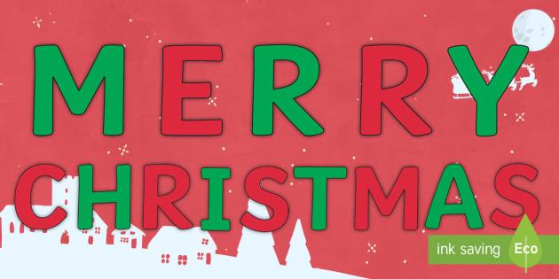 Merry Christmas Letter Banner Printable.Free Merry Christmas Display Letters Christmas Xmas